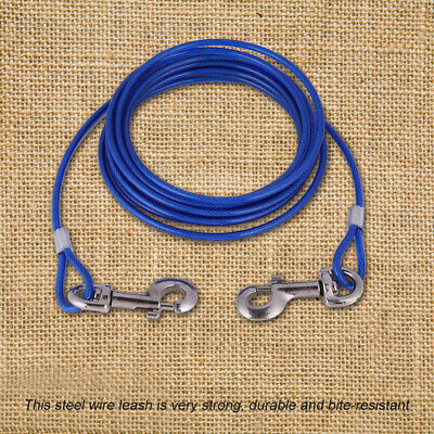 Pet Dogs Wire Leash Long Strong Steel Rope Tie Out Double Collar Cable Blue Red