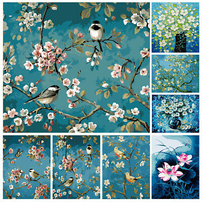 DIY Paint By Numbers Kit Digital Oil Painting Retro Flower Bird Wall Home Decor