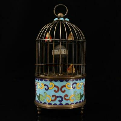 china old hand-made copper inlay cloisonne bird statue antique horologe g01C