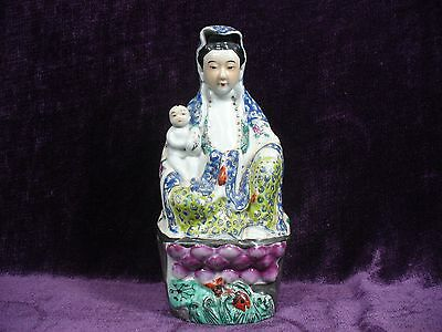 "Antique Chinese famille rose porcelain Guanyin statue 10.25"" excellent 粉彩送子观音"