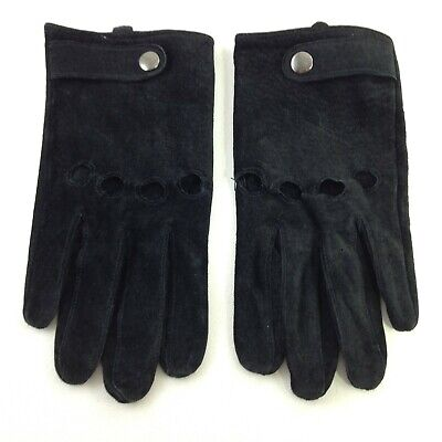 Women's Black Pigskin Leather Gloves Size Small