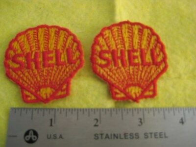 Vintage 2 Shell Gasoline Service Dealer Uniform Hat Patch