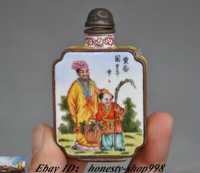 Old Chinese Dynasty Bronze Cloisonne Enamel People Figure snuff bottle Statue