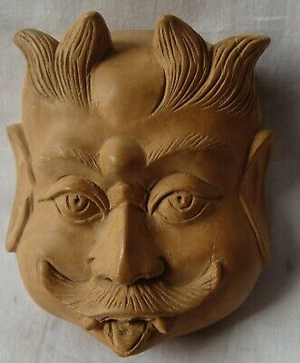 Kadam wood demon/devil face statue Indian tribal small fine hand carved figurine