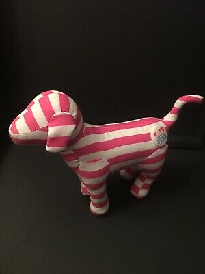 1 New Victorias Secret Pink Plush Dog ~VOTE For PINK Pin Limited Edition Stripes