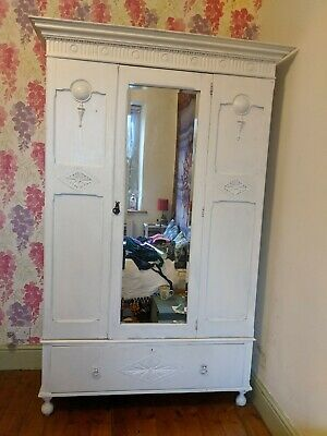 Shabby-Chic Victorian Wardrobe, Antique Oak with Full-length Mirror