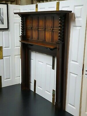 Large Arts And Crafts Carved Oak Fire Surround