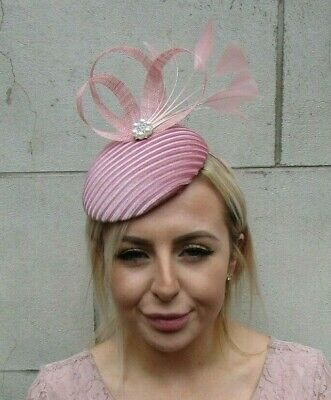 Dusky Pink Blush Pink Velvet Feather Pearl Hat Fascinator Hatinator Wedding 0185