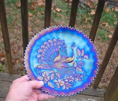 "NORTHWOOD   ""PEACOCKS on the FENCE""   ROYAL BLUE CARNIVAL GLASS PLATE"