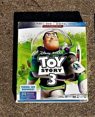 "Disney ""Toy Story 3"" Blu-Ray + Dvd + Digital Code + Slipcover Brand New Sealed"