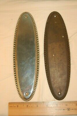 Salvaged Pair Beaded Oval Push Door Plates, One Nickle Plated