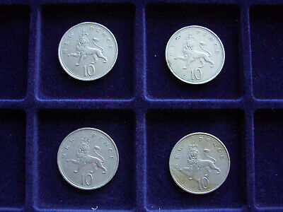Four 10 New Pence Coins Dated 1971,1975,1976,1980 - Freepost - ( 34 My Ref)