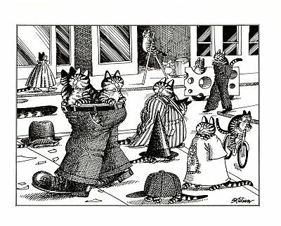 Cats In and Out of the Bag Sack Kliban Cat Print Black White Vintage