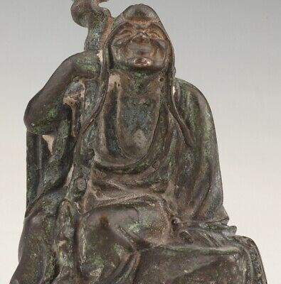 Chinese Old Bronze Hand-Cast Buddhist Arhat Statue Spiritual Gift Collection Old