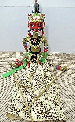 """Vintage Indonesian/Balinese Stick Marionette Puppet 29"""" Wood Carved/Painted"""