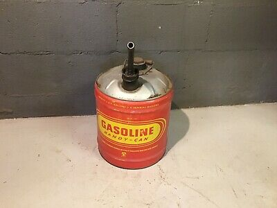 Vtg Liberty Gasoline 5 GALLON Metal Gas Vented Red Yellow Handy Oil Tin Can