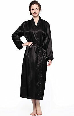 Lavenderi Women's Long Classic Satin Kimono Lounge Bathrobe Robe