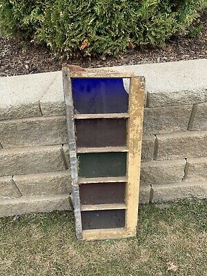 Victorian Antique Chippy Wood Architectural Salvage Glass Panel Window Pane