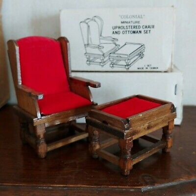 Vintage 1:12 Scale Dollhouse Wood Furniture Set Side Sitting Chair & Ottoman
