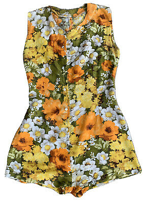 Vintage Swimsuit Playsuit Romper Floral Conmar Metal Zipper