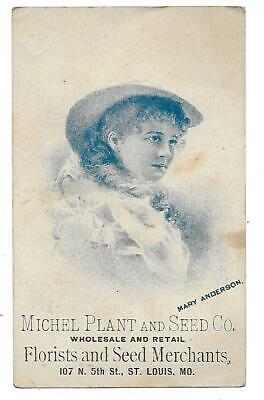 Michel Plant & Seed Co. Victorian Trade Card St. Louis Mo.-Baskets-Mary Anderson