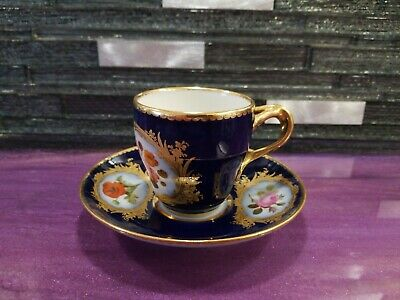 Cobalt and Gold  Tea Cup & Saucer Sevres Style