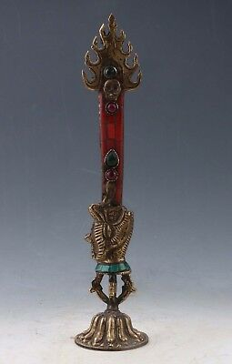 Collectible Old Chinese Tibetan Handwork Carved Magic Amulet Statue Z01