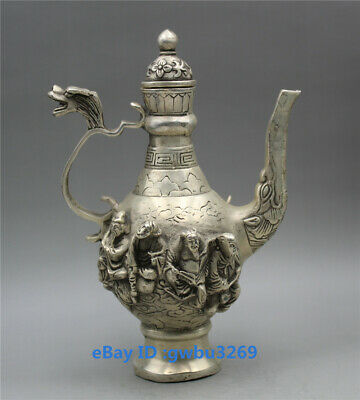 collect Chinese old Tibetan silver handwork carved the Eight Immortals Teapot Z1