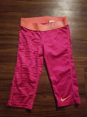Nike Pro Dri Fit Compression Capris Girls Youth Xsmall Pink