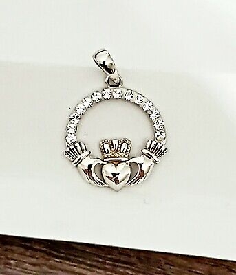 Sterling Silver Claddagh Irish Celtic Design Pendant Charm Crystals