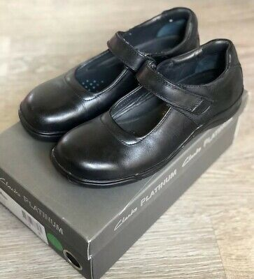 Clark's Platinum Leather School Flats Shoes Black Size 3