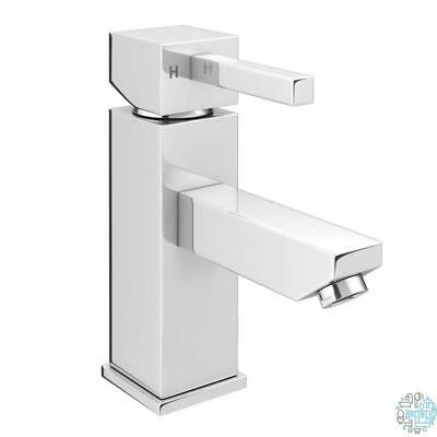 Chrome VeeBath Perth Round Large Mono Basin Mixer Tap Brass with Spring Plug Push Button Waste 1//2 BSP Fitting and Flexi Pipes