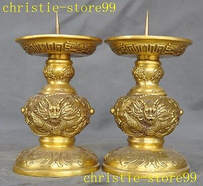 "8"" Old Chinese Pure brass animal Dragon statue Candlesticks Candle Holder pair"