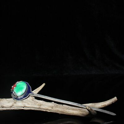 Exquisite Chinese old antique copper inlay jades Handmade Cloisonne Hairpin/Wa02