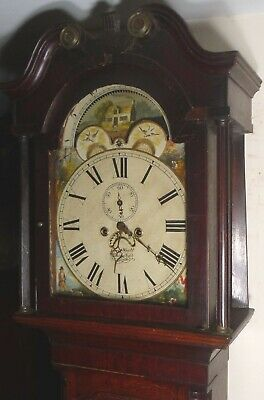 Antique Oak 8 Day Moon Phase Longcase / Grandfather  Clock