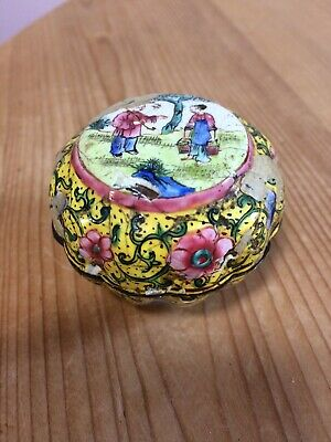 Rare Antique Enamel Canton Chinese Pill, Snuff or Trinket Box, as Found