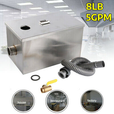 8LB 5GPM Grease Trap Stainless Steel Interceptor Filter Commercial USA Seller BR