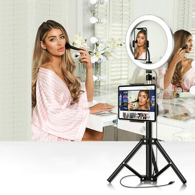 "10"" Selfie LED Ring Light with Tripod Phone Holder for Live Stream YouTube Video"