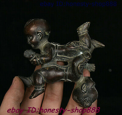 Collect Chinese Dynasty Bronze Tongzi Boy Kid Babe Child Bairn People Statue 001