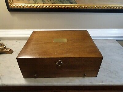 Naken Silverware Chest Tarnish Proof Wood Wooden Storage Box Flatware w/Drawer
