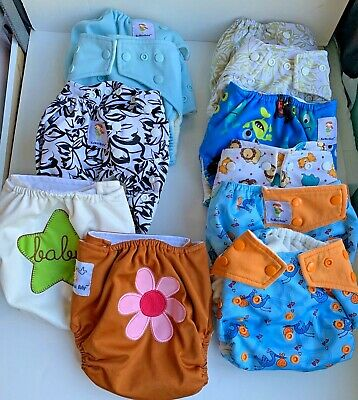 12  KaWaii Baby Pocket Cloth Diapers Pre-owned Snaps Solids & Patterns