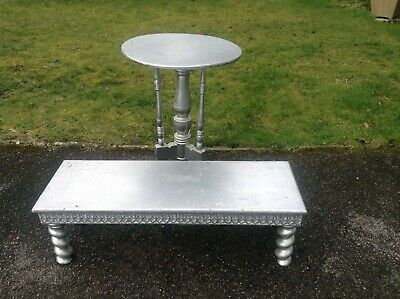Occasional table and foot stall silver colour