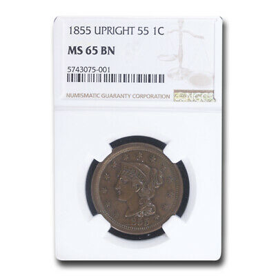 1855 Large Cent MS-65 NGC (Brown, Upright 55) - SKU#211036