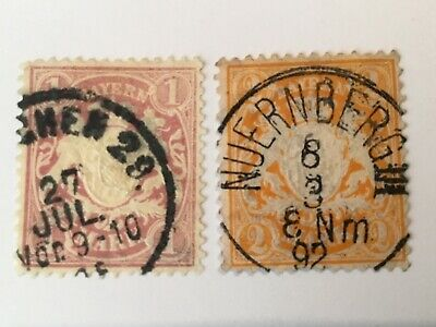 old stamps BAVARIA x 2 used  1m, 2m