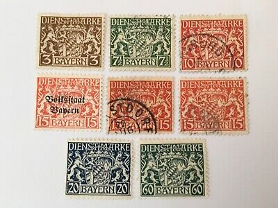 old stamps BAVARIA x 8 official stamps