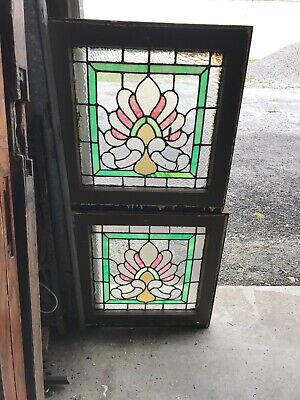 MK 80 Pair Antique stained glass windows 20.5 x 21.5 W