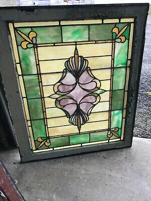 MK 88 Antique Stained Glass Landing Window 29.25 X 34.5