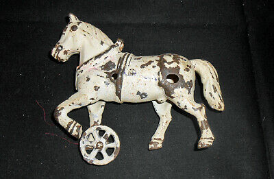 Antique Cast Iron White Work Horse For Toy Wagon