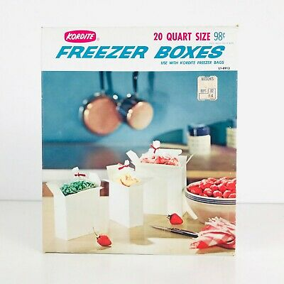 VTG Kordite Quart Size Freezer Boxes Food Storage Containers Unopened Box of 20