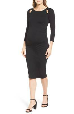 Isabella Oliver Maternity Black Anetta Ruched Dress Size 4 Uk 14 Bnwt £132
